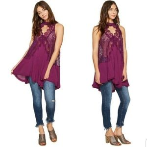 Free People Purple Lace Sleeveless Swing Top/Dress